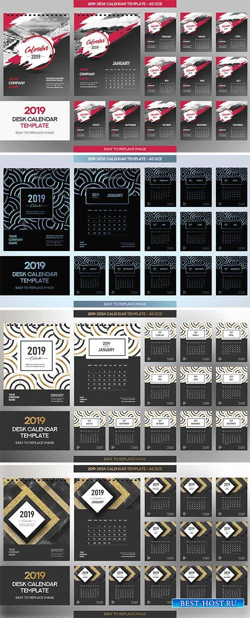 Desk Calendar 2019 vector template, 12 months included