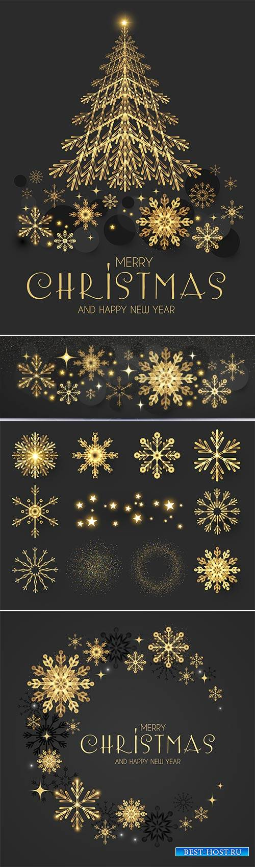 Christmas vector illustration with golden snowflakes