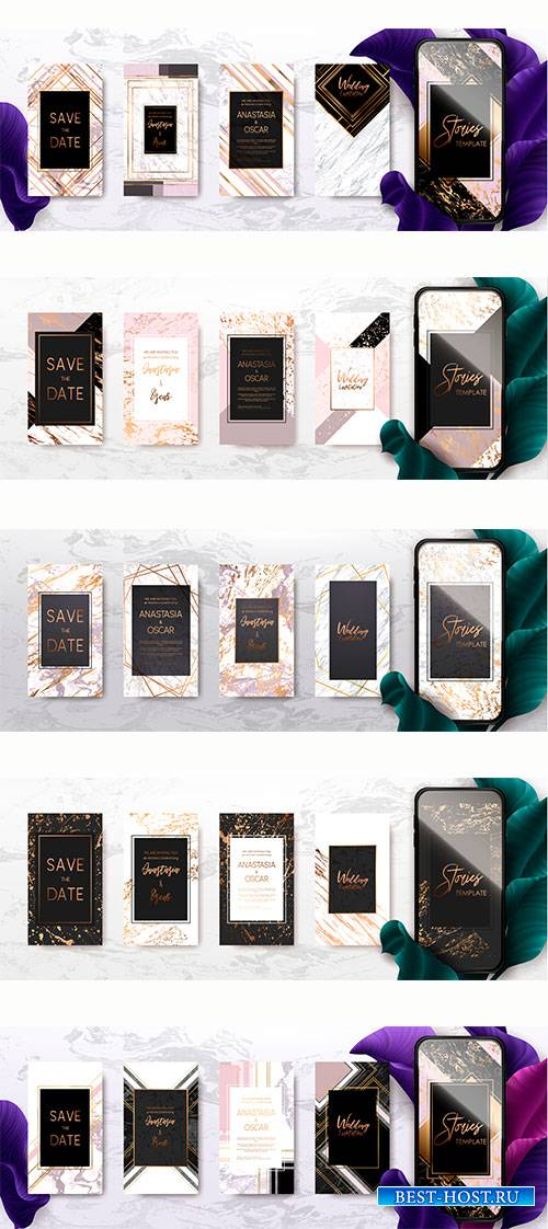 Trendy kit template pack with gold and marble texture, promotion flyer backgrounds