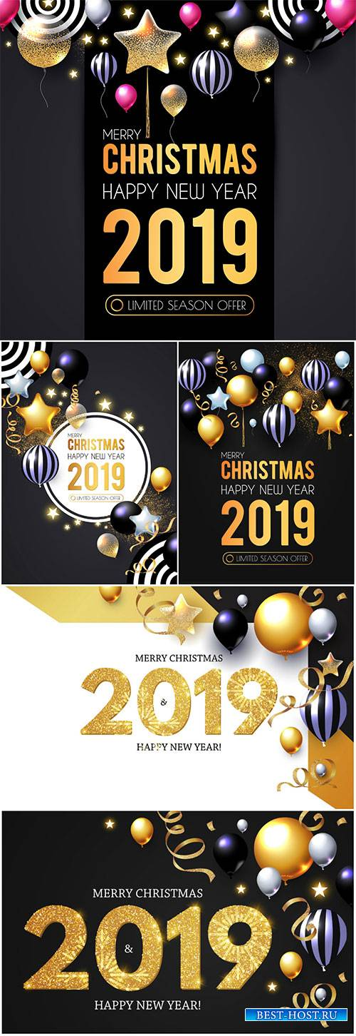 Happy New 2019 Year greeting card vector illustration