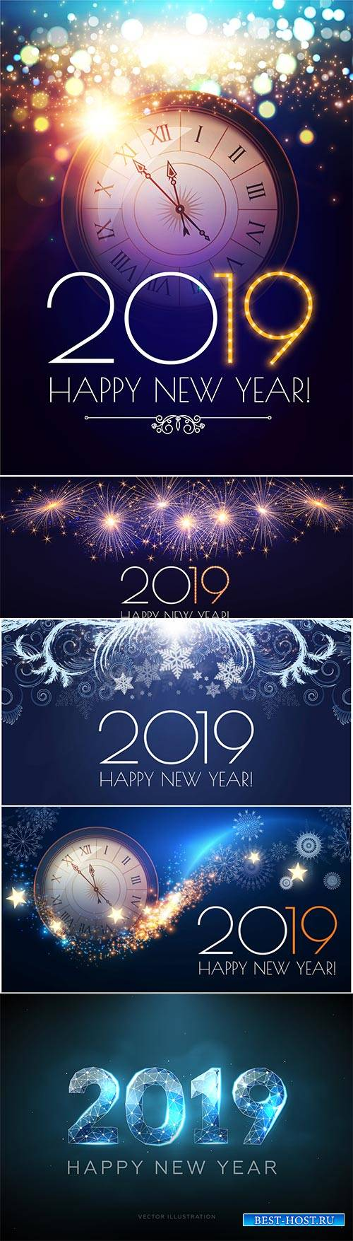 Happy New 2019 Year vector illustration, clock, fireworks