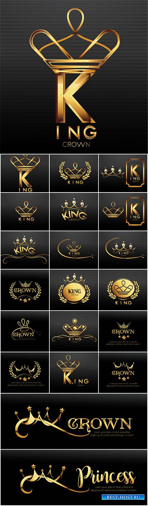 Luxury sign gold crown with elegant vector design