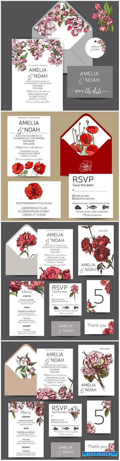 Vector template for wedding invitation