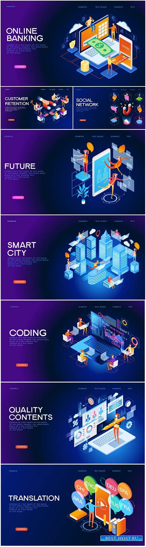 Business 3d isometric vector illustration