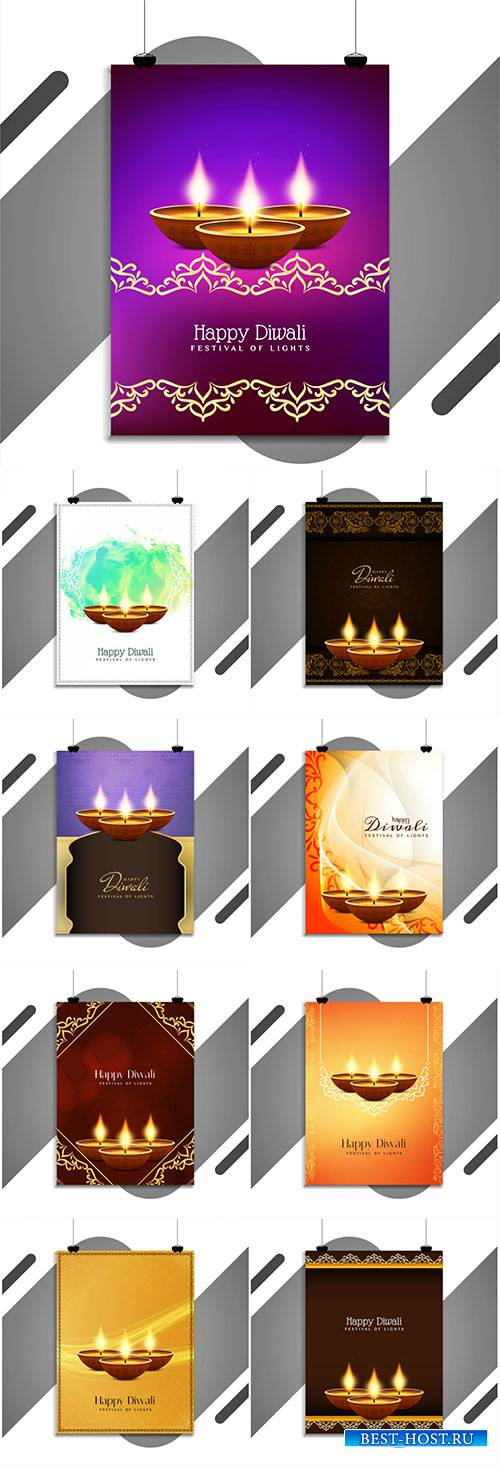 Happy Diwali elegant vector flyer design