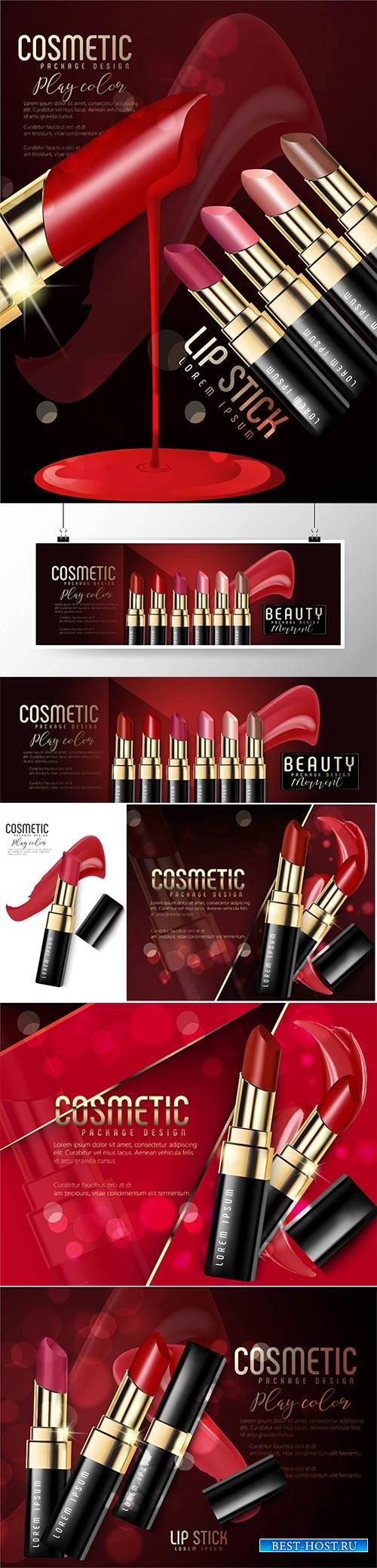 Vector ads of premium female lipstick for skin care