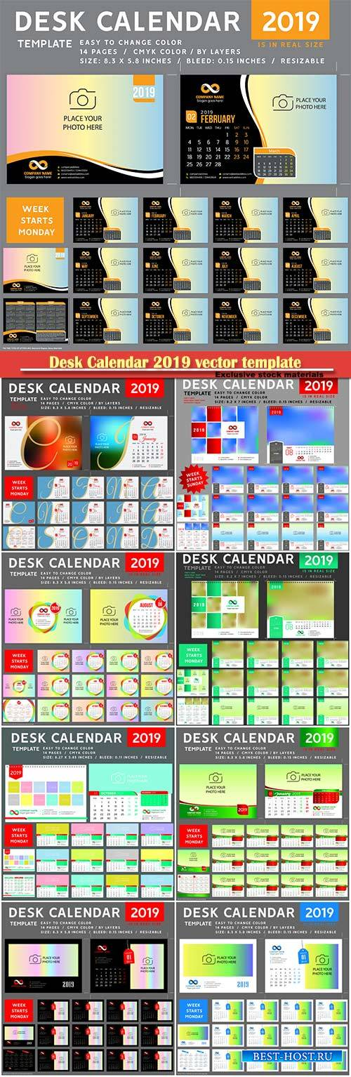 Desk Calendar 2019 vector template, 12 months included # 4