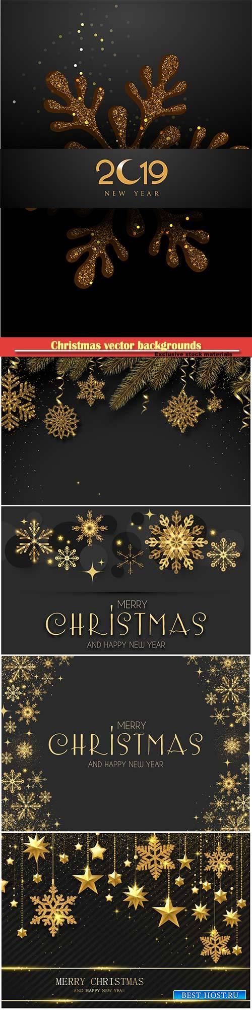 Christmas vector backgrounds with golden decor