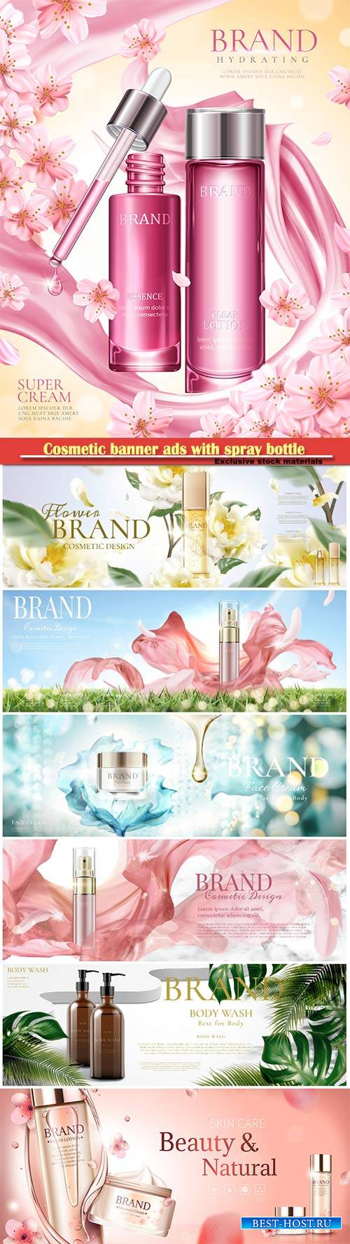Cosmetic banner ads with spray bottle in 3d illustration vector illustratio ...