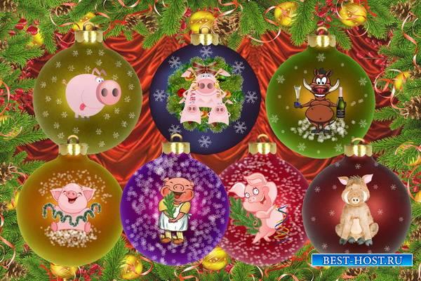 Клипарт Новогодние шарики к году Свиньи