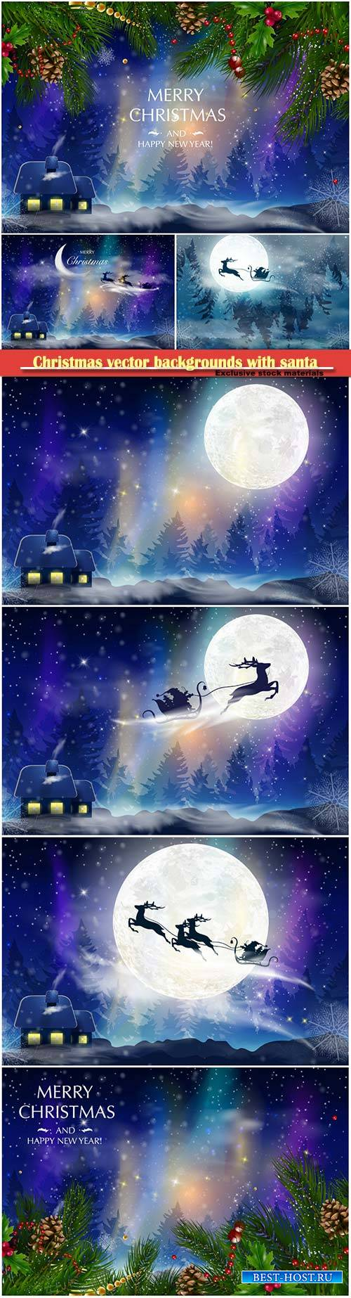Christmas vector backgrounds with santa and deer flying through the sky