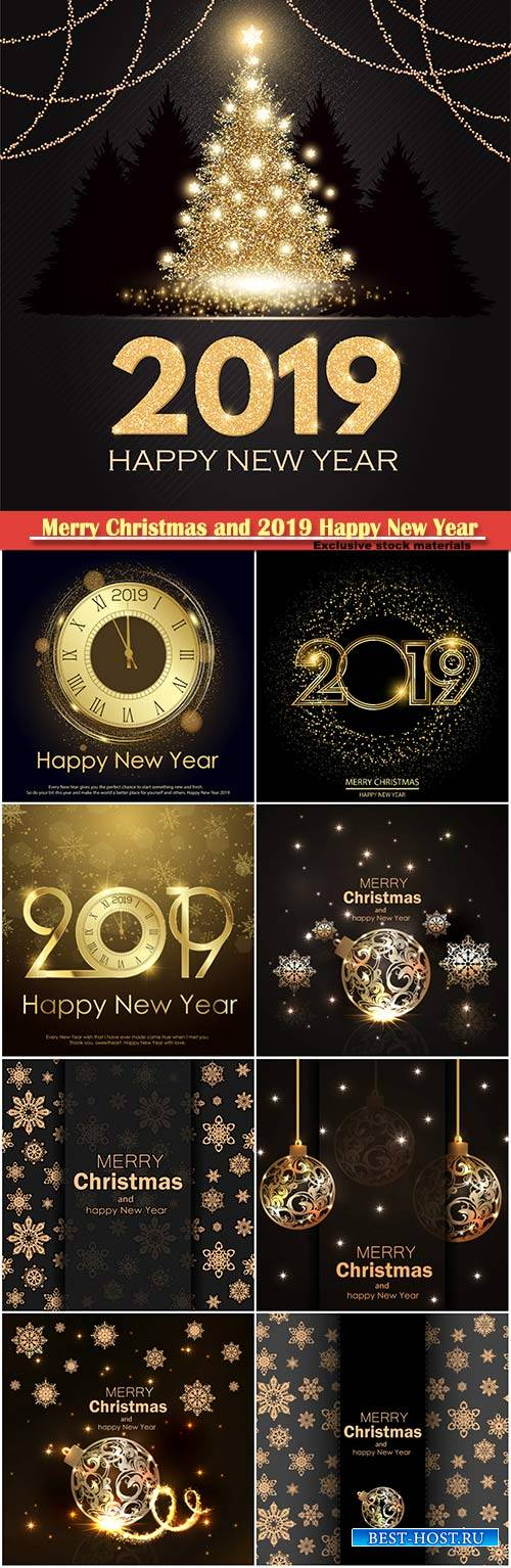Happy New 2019 Year vector elegant card with gold shining christmas tree