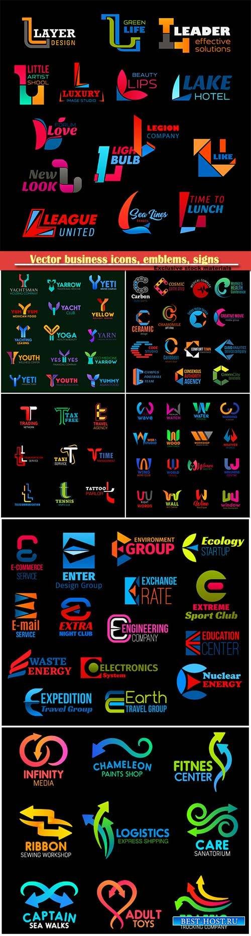 Vector business icons, emblems, signs and symbols