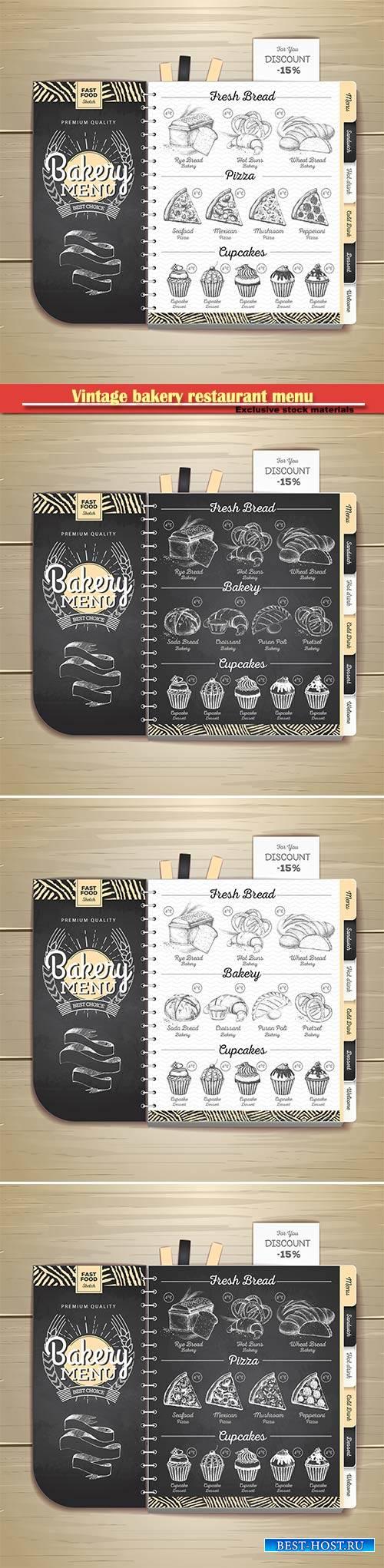 Vintage chalk drawing bakery restaurant menu design  vector illustration