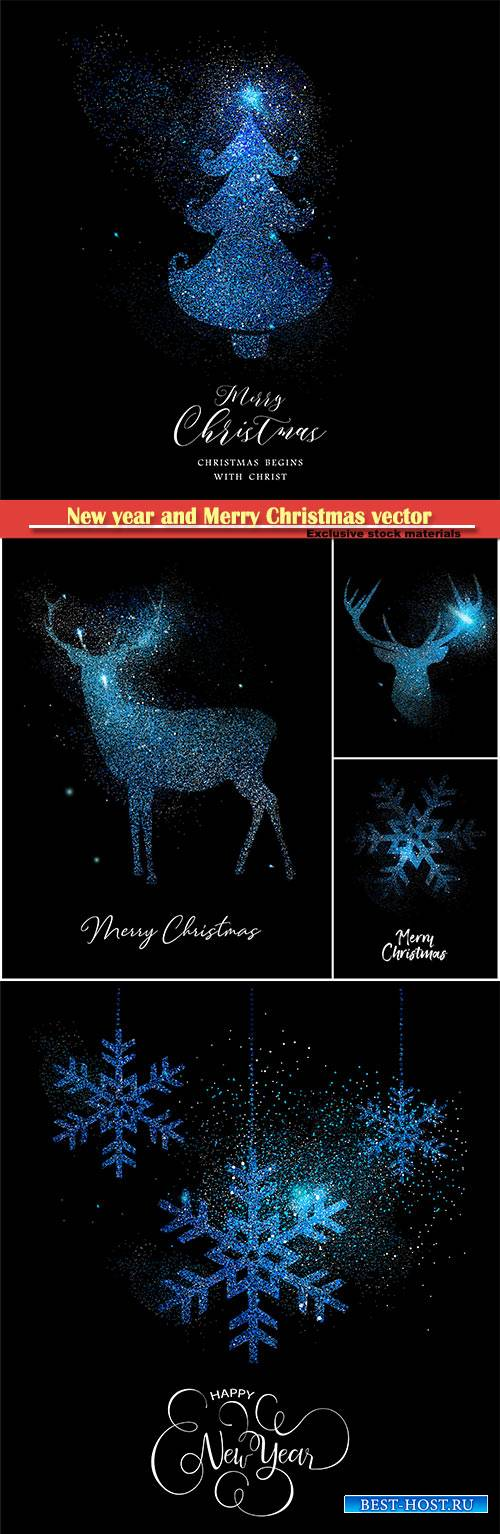 Merry Christmas blue glitter pine tree, reindeer, vector card