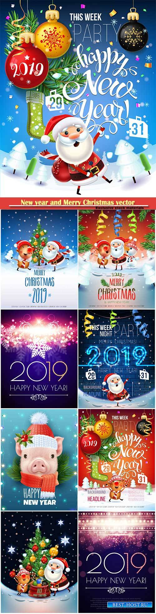 2019 New year and Merry Christmas poster card, Santa Claus, pig decorate th ...