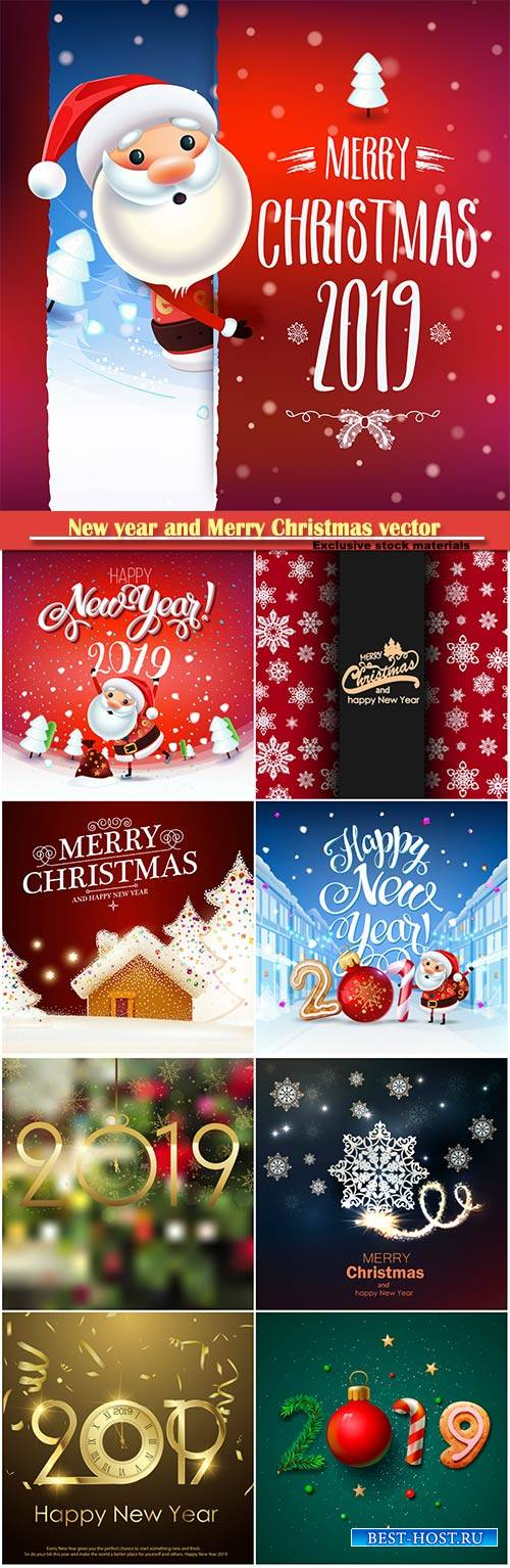 2019 New year and Merry Christmas winter vector background