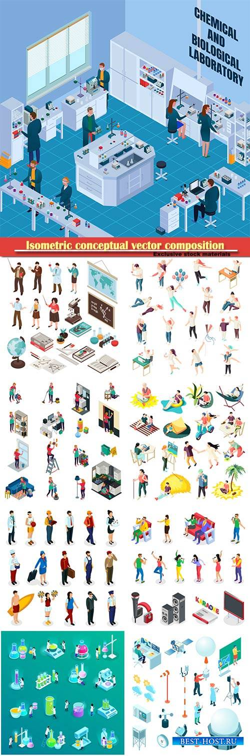 Isometric conceptual vector composition, infographics template # 62