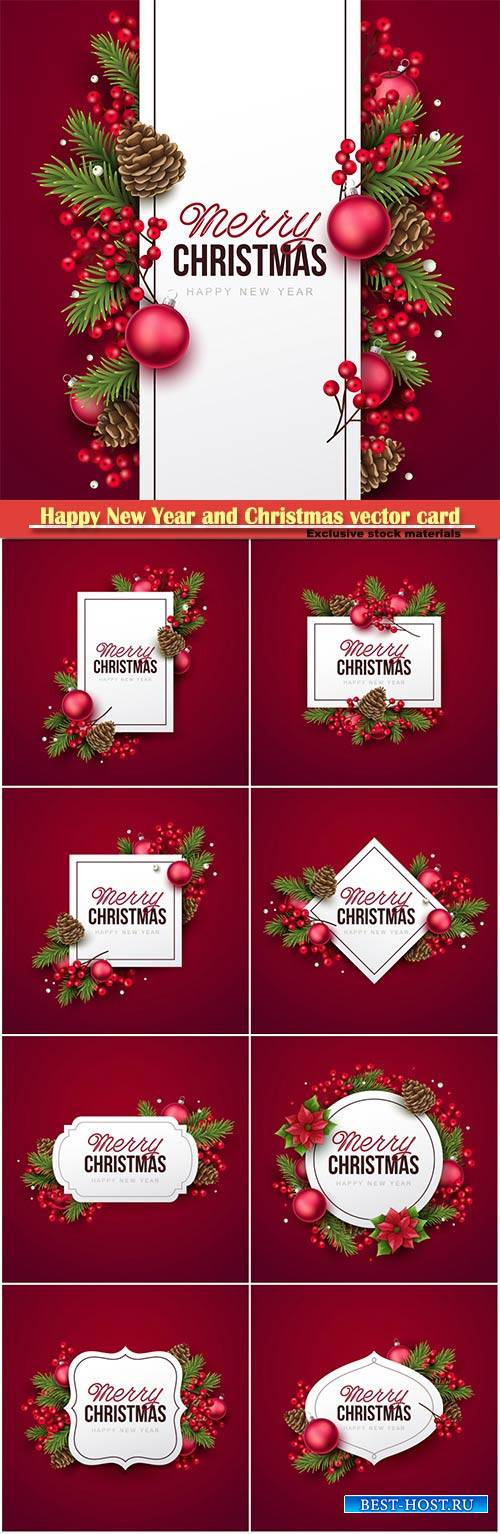 Happy New Year and Christmas greeting vector card