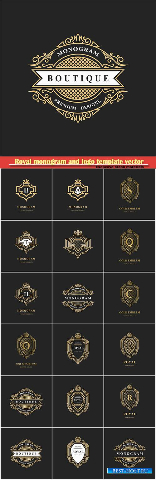 Royal monogram and logo template vector design