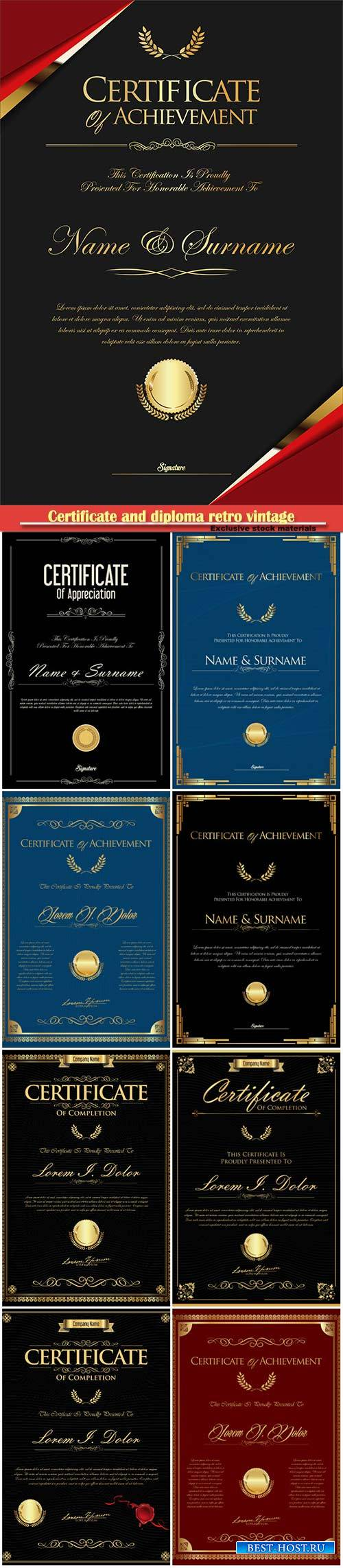 Certificate and diploma retro vintage vector template