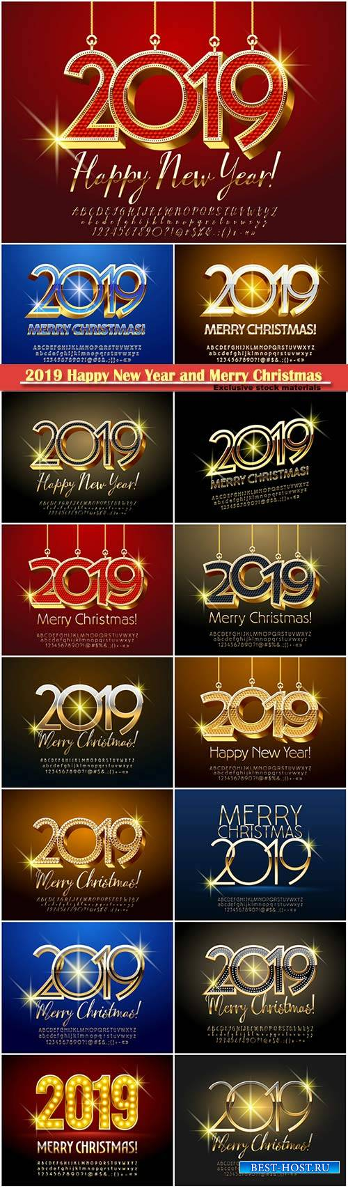 2019 Happy New Year and Merry Christmas design decorative
