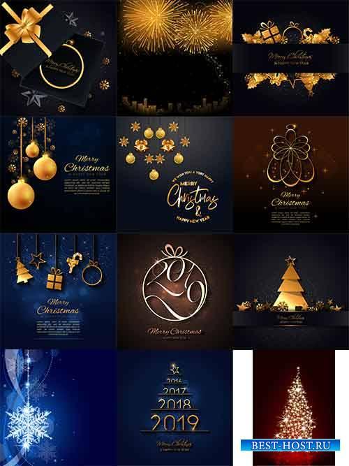 Новогодние фоны - 11 - Векторный клипарт / Christmas backgrounds -11 - Vect ...