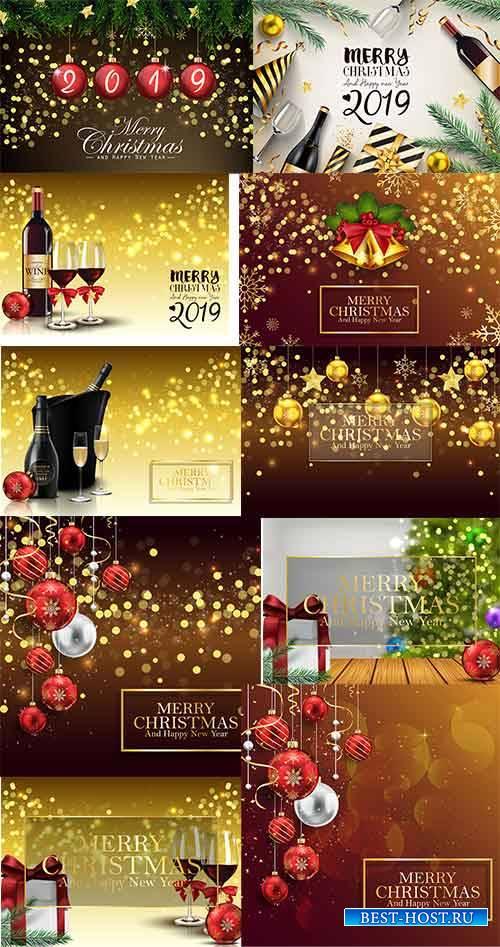 Новогодние фоны - 12 - Векторный клипарт / Christmas backgrounds -12 - Vect ...