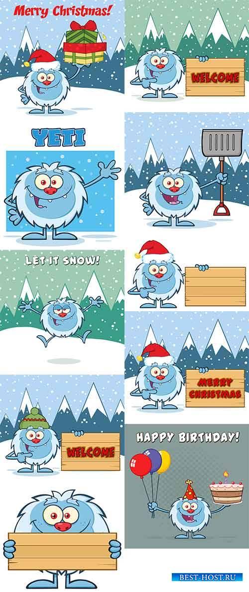 Новогодний йетти - Векторный клипарт / Christmas Yetti - Vector Graphics
