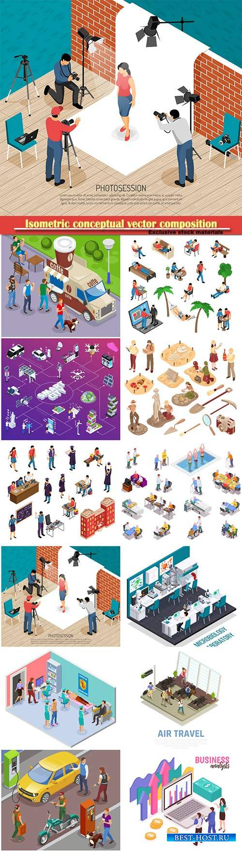 Isometric conceptual vector composition, infographics template # 70