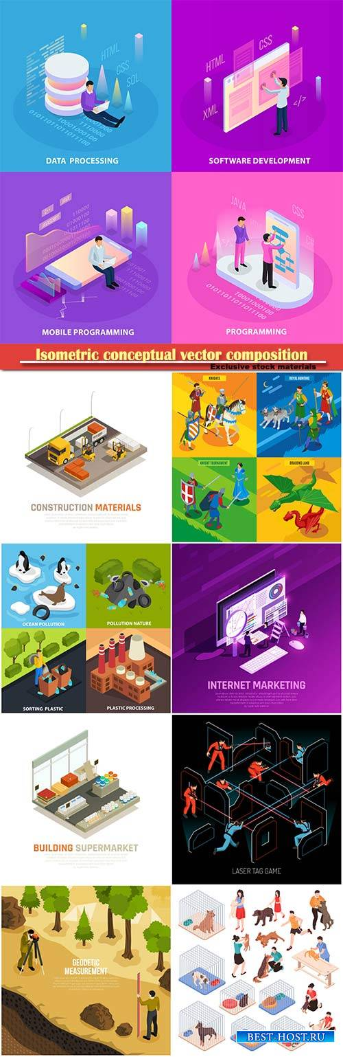 Isometric conceptual vector composition, infographics template # 67