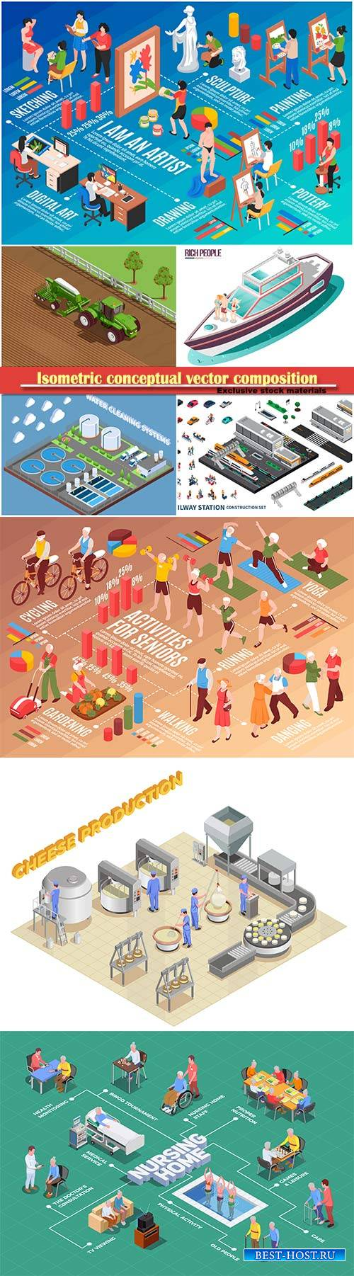 Isometric conceptual vector composition, infographics template # 69