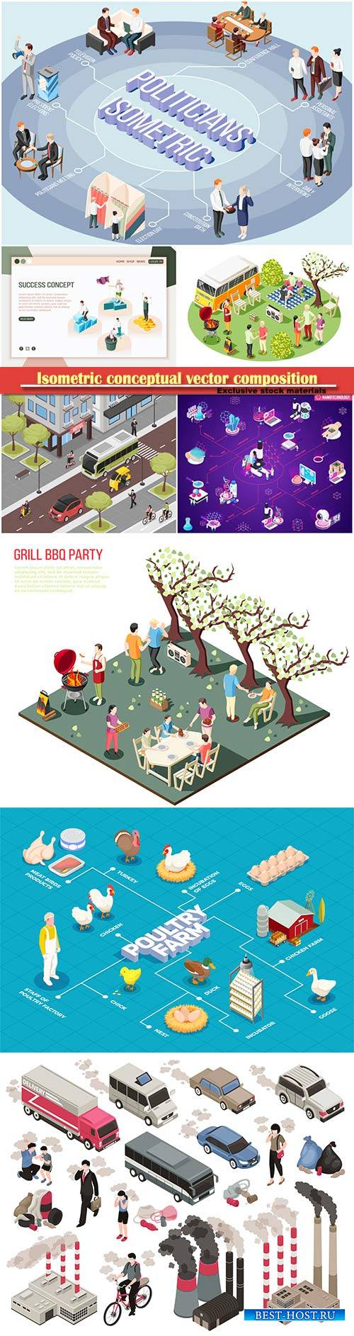Isometric conceptual vector composition, infographics template # 68