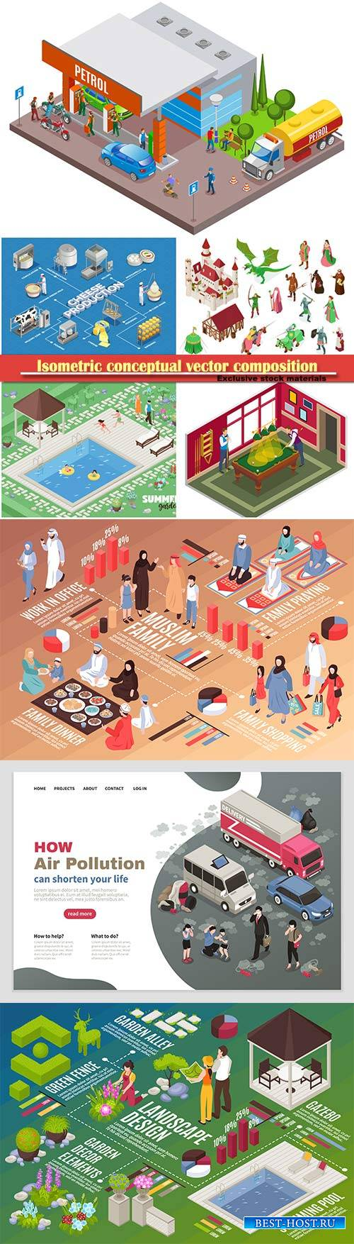 Isometric conceptual vector composition, infographics template # 66