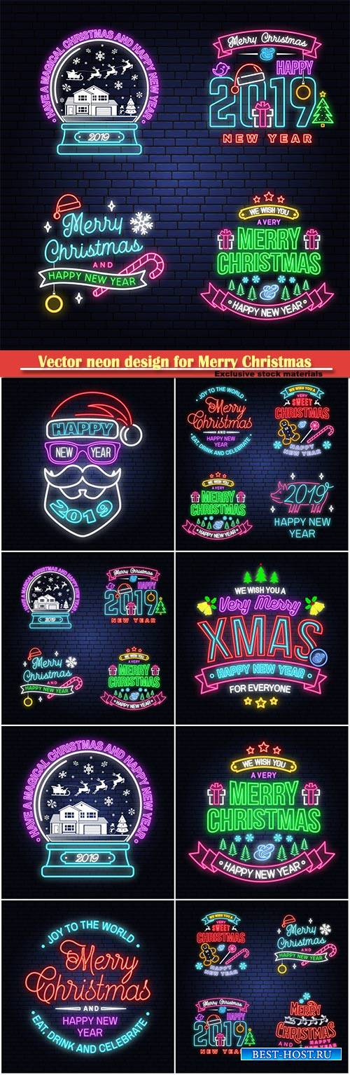 Vector neon design for Merry Christmas and Happy New Year