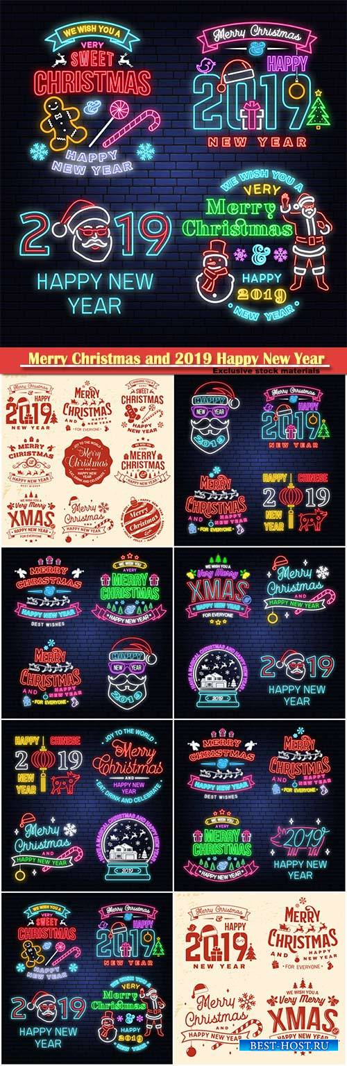 Merry Christmas and 2019 Happy New Year neon sign, sticker set