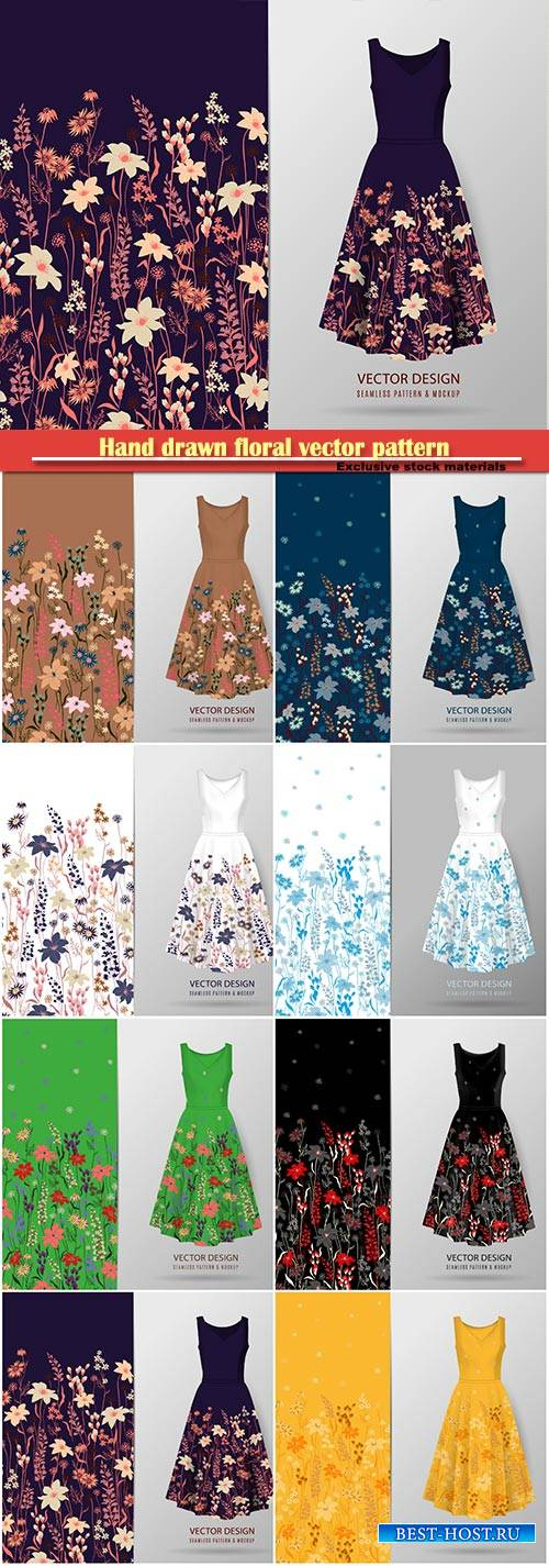 Hand drawn floral vector pattern on dress mockup