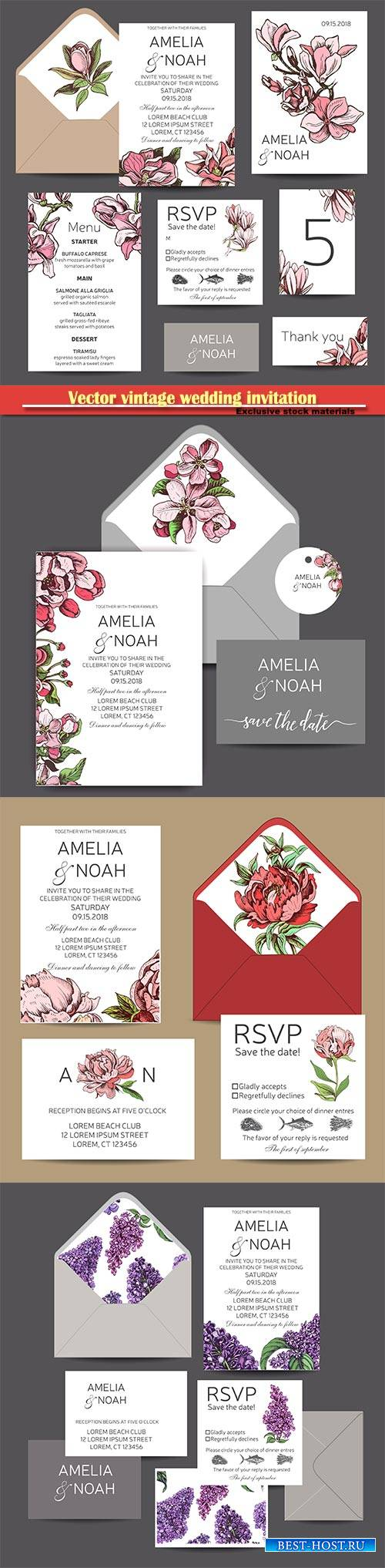 Vector vintage wedding invitation, watercolor flower