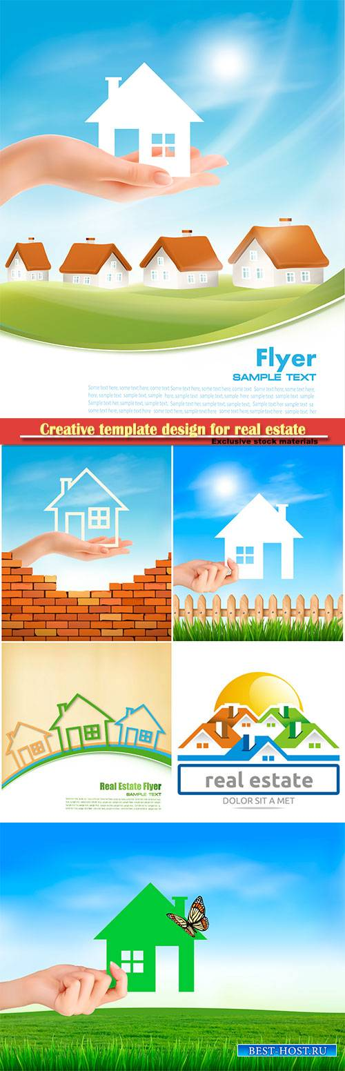Creative template design for real estate, vector hand holding a paper house