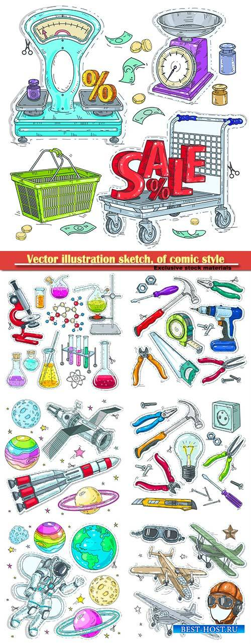Vector illustration sketch, of comic style colorful icons