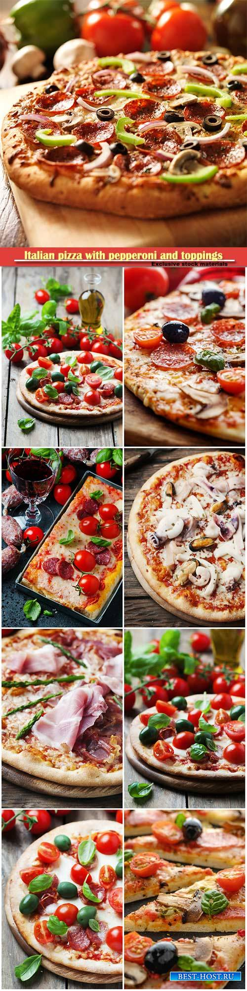 Italian pizza with pepperoni and toppings