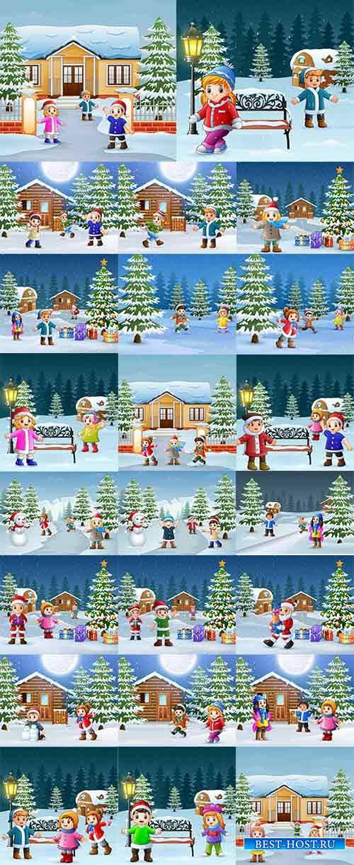 Зимние забавы - 7 - Векторный клипарт / Winter fun - 7 - Vector Graphics