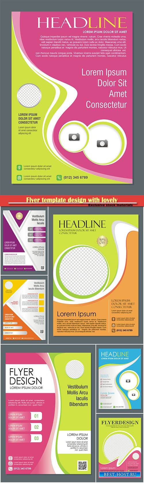 Flyer template design with lovely and stylish design