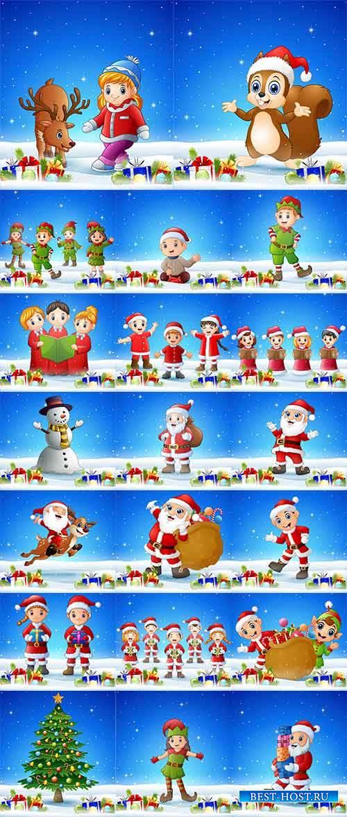 Новогодние персонажи - 4 - Векторный клипарт / Christmas characters - 4 - V ...