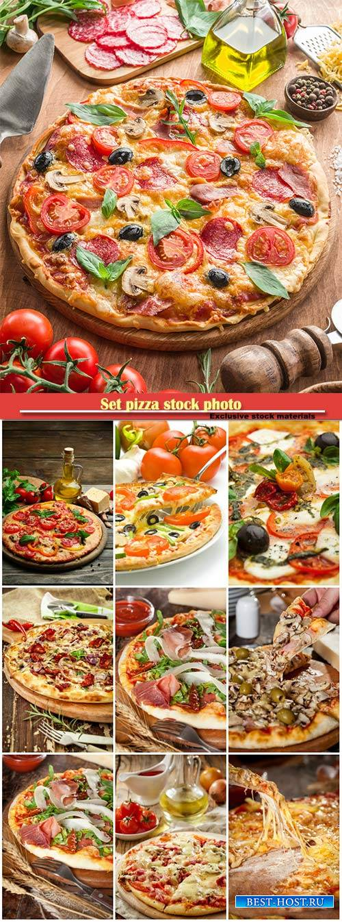 Set pizza stock photo