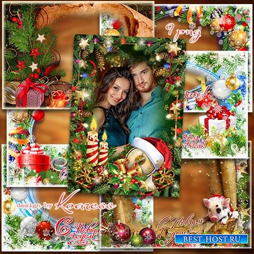 Новогодние фоторамки-открытки в png - Новогодние рамки в png - Сияет праздн ...
