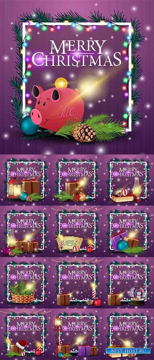 Новогодние открытки - 11 - Векторный клипарт / Christmas cards - 11 - Vecto ...