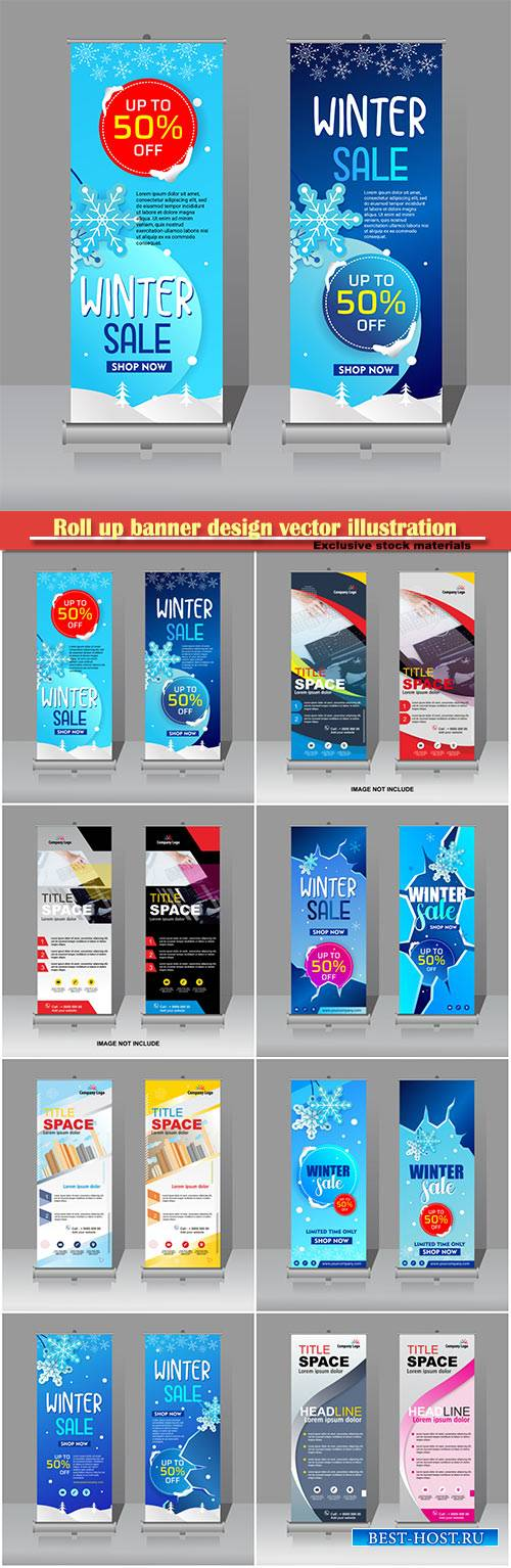 Roll up banner design vector illustration template