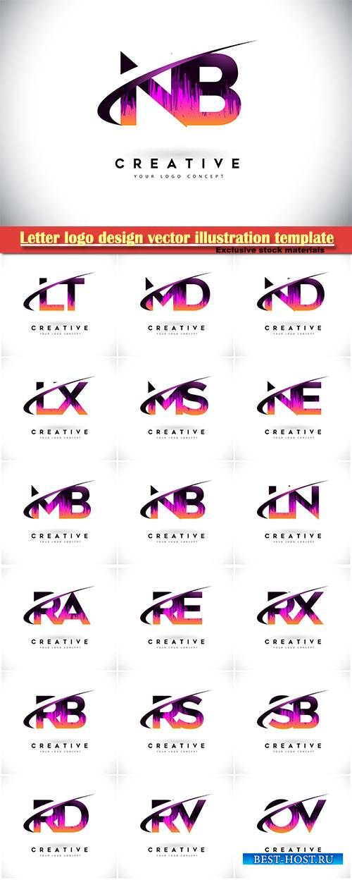 Letter logo design vector illustration template # 4