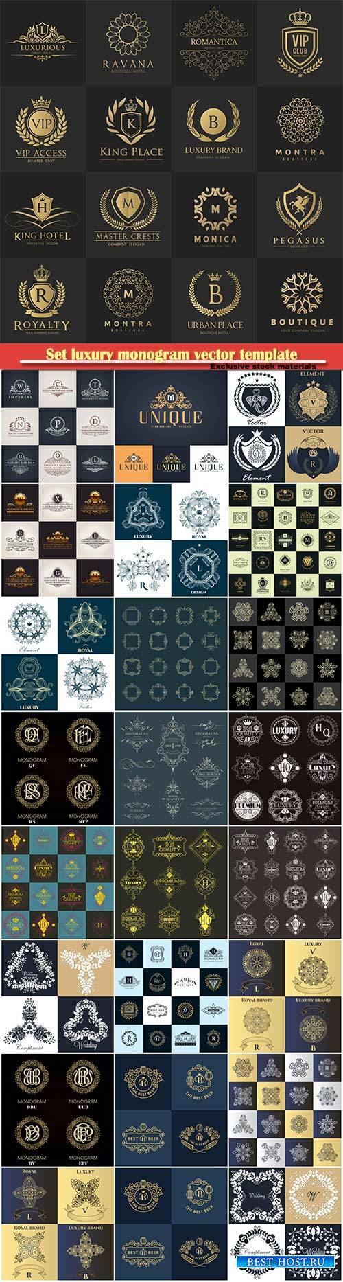 Set luxury monogram vector template, logos, badges, symbols # 5